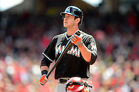 Miami Marlins pinch hitter Joe Mahoney #25 during a game against the Cincinnati Reds at Great American Ball Park on April 20, 2013 in Cincinnati, Ohio.  Cincinnati defeated Miami 3-2 in 13 innings.  (Mike Janes/Four Seam Images)