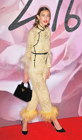 Alexa Chung at the Fashion Awards 2016, Royal Albert Hall, Kensington Gore, London, England, UK, on Monday 05 December 2016. <br /> CAP/CAN<br /> ©CAN/Capital Pictures /MediaPunch ***NORTH AND SOUTH AMERICAS ONLY***