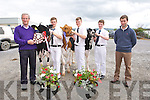 Phil Hanafin, Roches Feeds, sponsor presented  Jack Walsh, Scartaglin with the Supreme Champion shield,  T.J. Maunsell, Abbeydorney (Reserve Champion), Christopher Heffernan, Ballyheigue (3rd) Honourable Mention, and Padraig Murphy, Kilkenny, Judge.  at the Castleisland Mart Calf Show on Saturday