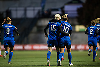 Seattle, WA - April 15th, 2017: Jess Fishlock and Megan Rapinoe during a regular season National Women's Soccer League (NWSL) match between the Seattle Reign FC and Sky Blue FC at Memorial Stadium.