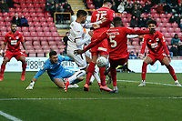 Bradford's Richard O'Donnell saves form a 1st half Marvin Ekpiteta  shot during Leyton Orient vs Bradford City, Sky Bet EFL League 2 Football at The Breyer Group Stadium on 14th December 2019