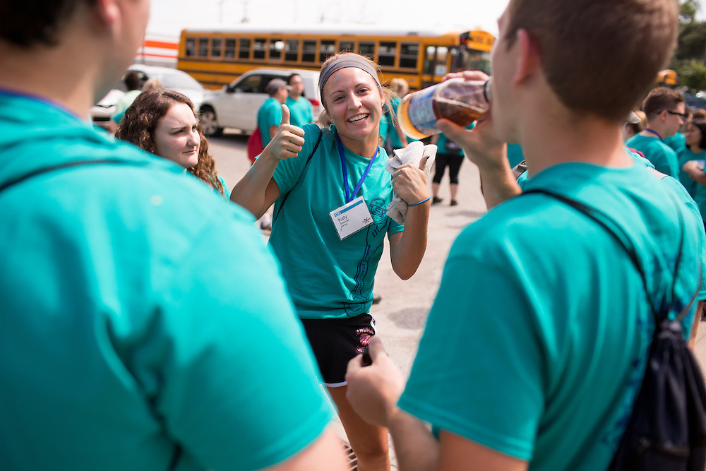 """Katy Spencer poses for a photo during """"Circle the City with Service,"""" the Kiwanis Circle K International's 2015 Large Scale Service Project, on Wednesday, June 24, 2015, in Indianapolis. (Photo by James Brosher)"""