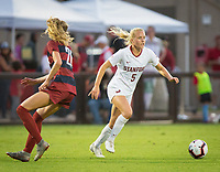 STANFORD, CA - August 30, 2019: Sierra Enge at Maloney Field at Laird Q. Cagan Stadium. The Cardinal defeated the University of Pennsylvania Quakers 5-1.