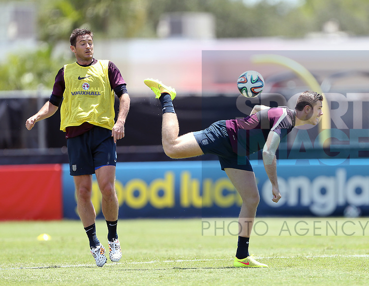 England's Frank Lampard and Jordan Henderson during training<br /> <br /> England Training &amp; Press Conference  - Barry University - Miami - USA - 06/06/2014  - Pic David Klein/Sportimage