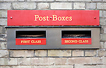 Post boxes for posting first and second class mail, UK