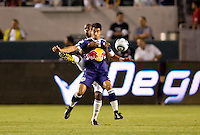 Forward Juan Pablo Angel of the New York Red Bulls battles LA Galaxy defender Yohance Marshall for the ball. The New York Red Bulls beat the LA Galaxy 2-0 at Home Depot Center stadium in Carson, California on Friday September 24, 2010.