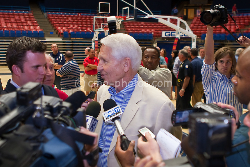Apr 7, 2009; Tucson, AZ, USA; Former head basketball coach, Lute Olson is interviewed after a press conference introducing new head coach, Sean Miller, at the McKale Center.