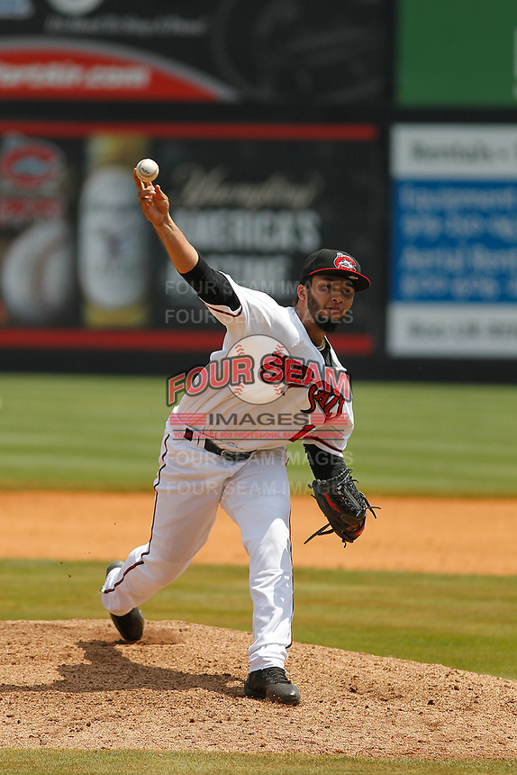 Carolina Mudcats pitcher Marcos Diplán (18) on the mound during a game against the Down East Wood Ducks on April 27, 2017 at Five County Stadium in Zebulon, North Carolina. Carolina defeated Down East 9-7. (Robert Gurganus/Four Seam Images)