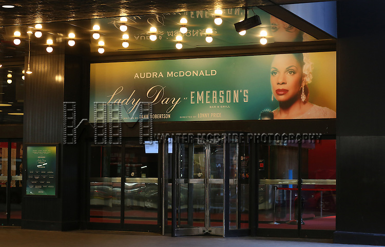 """Theatre Marquee for Audra McDonald starring in """"Lady Day at Emerson's Bar & Grill"""" at Circle in the Square Theatre on April 6, 2014 in New York City."""