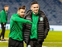 5th February 2020; Ibrox Stadium, Glasgow, Scotland; Scottish Premiership Football, Rangers versus Hibernian; is Martin Boyle and Paul McGinn inspect pitch before kick off