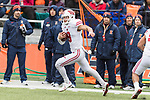 Wisconsin Badgers defensive back Joe Ferguson (8) returns an interception during an NCAA College Big Ten Conference football game against the Illinois Fighting Illini Saturday, October 28, 2017, in Champaign, Illinois. The Badgers won 24-10. (Photo by David Stluka)