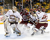 John Muse (BC - 1), Louis Leblanc (Harvard - 20), Chris Kreider (BC - 19), Edwin Shea (BC - 8), Patrick Alber (BC - 27) - The Boston College Eagles defeated the Harvard University Crimson 6-0 on Monday, February 1, 2010, in the first round of the 2010 Beanpot at the TD Garden in Boston, Massachusetts.