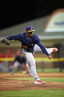 State College Spikes relief pitcher Dewin Perez (29) follows through on a pitch during a game against the Batavia Muckdogs on June 23, 2016 at Dwyer Stadium in Batavia, New York.  State College defeated Batavia 8-4.  (Mike Janes/Four Seam Images)