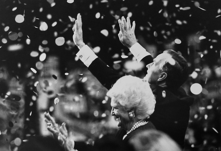 President George H. W. Bush with wife Barbara at Republican National Convention for 4 more years in August 1992. (Photo by Laura Patterson/CQ Roll Call via Getty Images)