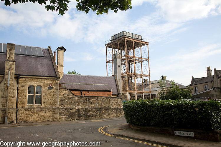 School and water tower, The Railway Village built by GWR to house workers in the 1840s, Swindon, England