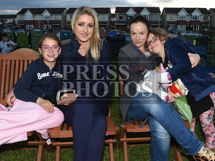 Dominika and Sophia Kopczan and Anna and Eletja Wyrzykowska at the outdoor cinema in Inse Bay Laytown. Photo:Colin Bell/pressphotos.ie