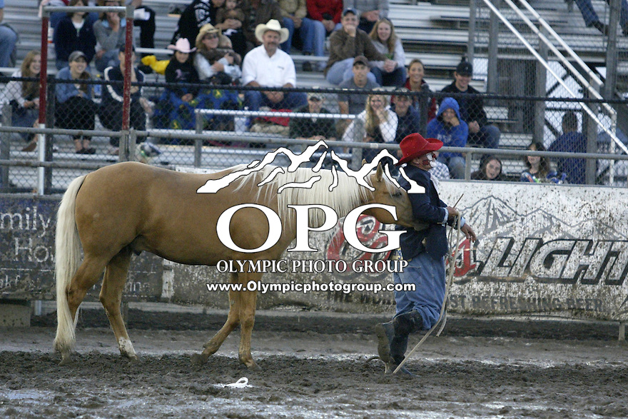 21 August 2008 PRCA Rodeo Clown Of The Year Keith Isley Slides Down Horses