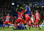 5th December 2017, Stamford Bridge, London, England; UEFA Champions League football, Chelsea versus Atletico Madrid; Alvaro Morata of Chelsea attempting a header on goal