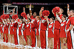 "MADISON, WI - NOVEMBER 8: The cheerleaders of the Wisconsin Badgers sing ""Varsity"" during the game against the Carroll College Pioneers at the Kohl Center on November 8, 2006 in Madison, Wisconsin. The Badgers beat the Pioneers 81-61. (Photo by David Stluka)"