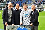 10.03.2019, Prezero-Arena, Sinsheim, GER, 1 FBL, TSG 1899 Hoffenheim vs 1. FC Nuernberg, <br /> <br /> DFL REGULATIONS PROHIBIT ANY USE OF PHOTOGRAPHS AS IMAGE SEQUENCES AND/OR QUASI-VIDEO.<br /> <br /> im Bild: Ehrung fuer 100. Bundesligaspiele fuer die TSG: Pavel Kaderabek (TSG Hoffenheim #3) mit Frank Briel, Alexander Rosen (Direktor Profifussball TSG Hoffenheim) und Peter Goerlich (Geschaeftsfuehrer TSG Hoffenheim)<br /> <br /> Foto &copy; nordphoto / Fabisch