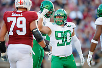 STANFORD, CA - SEPTEMBER 21: Drayton Carlberg #90 of the Oregon Ducks celebrates after a quarterback sack during a game between University of Oregon and Stanford Football at Stanford Stadium on September 21, 2019 in Stanford, California.