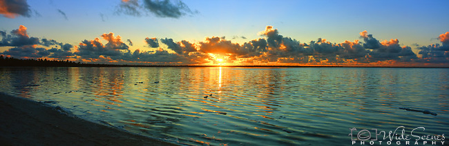 Kiribati Panorama - Sunrise on the lagoon in Kiritimati (Christmas Island), Kiribati <br />