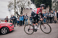 ridiculously steep climb towards the finish with Jelle Wallays (BEL/Lotto-Soudal)<br /> <br /> 76th Paris-Nice 2018<br /> stage 6: Sisteron &gt; Vence (198km)