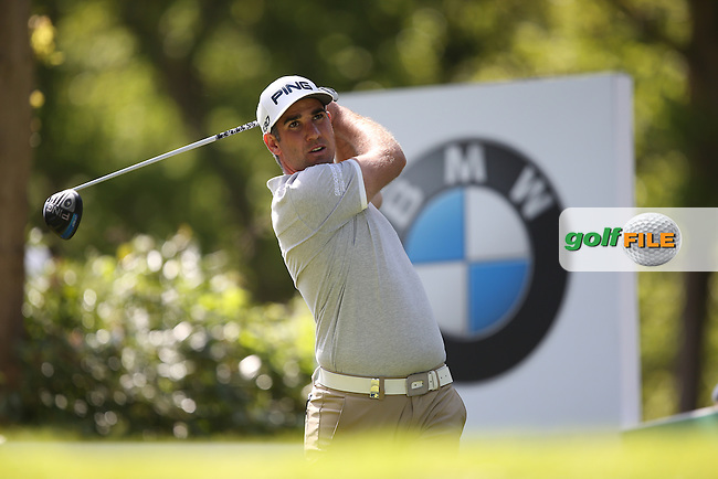 Oliver FARR (WAL)  drives from he 17th during Round One of the 2015 BMW PGA Championship over the West Course at Wentworth, Virginia Water, London. 21/05/2015Picture David Lloyd, www.golffile.ie.