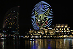 "August 12, 2016, Yokohama, Japan - A large Ferris wheel is illuminated shaped Pikachu character, Nintendo's videogame software Pokemon's wellknown character at the Cosmo World amusement park in Yokohama, suburban Tokyo on Friday, August 12, 2016. The Pikachu mascots perfom the several shows daily to attract summer vacationers as a part of the ""Great Pikachu Outbreak"" event through August 14.    (Photo by Yoshio Tsunoda/AFLO) LWX -ytd-"