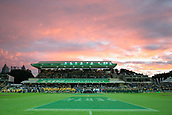 9th September 2017, nib Stadium, Perth, Australia; Supersport Rugby Championship, Australia versus South Africa; Both teams line up for the playing of the National Anthems  before the start  of the game