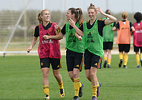 20180306 - LARNACA , CYPRUS :  Belgian Janice Cayman , Nicky Van Den Abbeele and Yana Daniels (r) pictured during a Matchday -1 training from The Belgian Red Flames prior to their game against South Africa , on tuesday 6 March 2018 at the Alpha Sports Grounds in Larnaca , Cyprus . This will be the final game for Belgium during the Cyprus Womens Cup for a battle for the 5th place , a prestigious women soccer tournament as a preparation on the World Cup 2019 qualification duels. PHOTO SPORTPIX.BE | DAVID CATRY