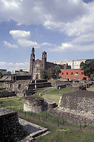 The Aztec ruins of Tlatelolco and the 17th century Templo de Santiago church in the Plaza de Las Tres Culturas, Mexico City