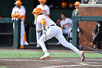 University of Tennessee Max Ferguson (2) runs to first base during a game against Western Illinois at Lindsey Nelson Stadium on February 15, 2020 in Knoxville, Tennessee. The Volunteers defeated Leathernecks 19-0. (Tony Farlow/Four Seam Images)