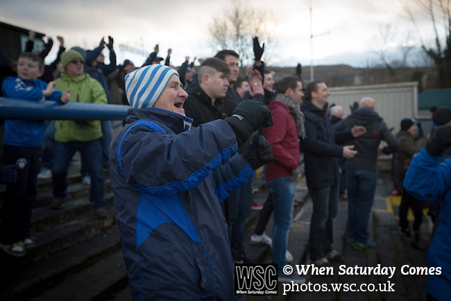 Greenock Morton 2 Stranraer 0, 21/02/2015. Cappielow Park, Greenock. Home supporters in the Shed react with delight as the their team's Mark Russell scores his team's second goal in the last minute as Greenock Morton take on Stranraer in a Scottish League One match at Cappielow Park, Greenock. The match was between the top two teams in Scotland's third tier, with Morton winning by two goals to nil. The attendance was 1,921, above average for Morton's games during the 2014-15 season so far. Photo by Colin McPherson.