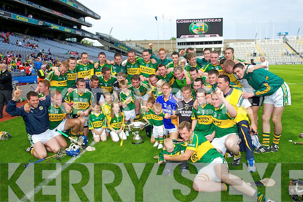 Kerry Hurling team celebrate defeating Wicklow in the Christy Ring Hurling Final at Croke Park, Dublin on Saturday 4th June 2011.