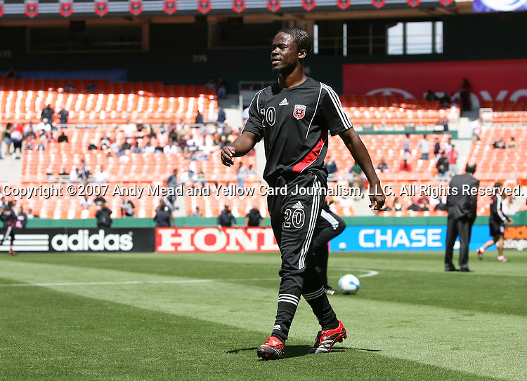 06 May 2007: DC's Guy-Roland Kpene (CIV).  DC United defeated CD Chivas USA 2-1 at RFK Stadium in Washington, DC in a Major League Soccer 2007 regular season game.