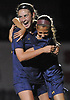 Kate Fiola #20 of Massapequa, left, celebrates with Jaclyn Portogallo #7 after scoring a goal in the first half of the Nassau County varsity girls soccer Class AA semifinals against East Meadow at Cold Spring Harbor High School on Monday, Oct. 30, 2017. Portogallo assisted on the goal. Fiola struck again in the second half to give Massapequa a 2-0 lead.
