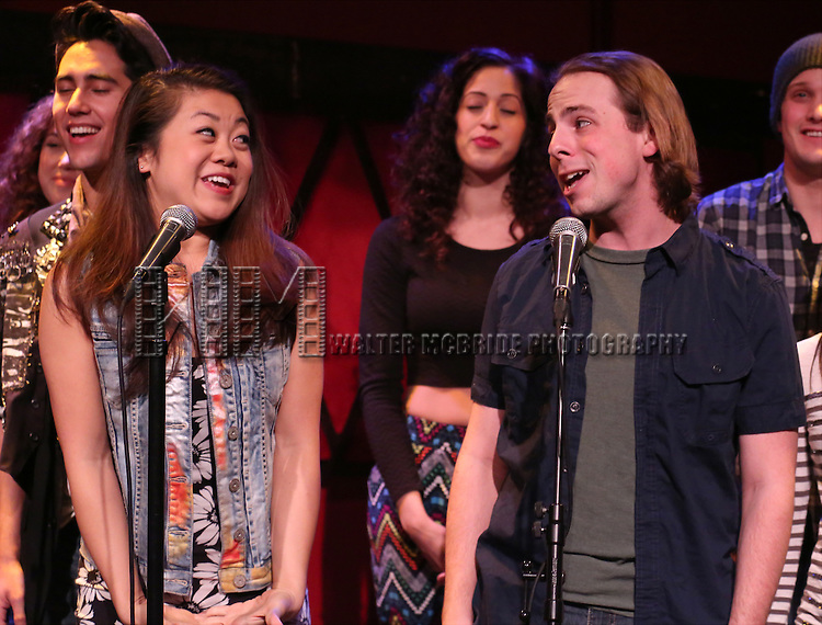 Charlotte Mary Wen and Ben Shuman with the cast of 'One Day - The Musical' performing a sneak peek of the new pop-rock Musical at Rockwood Music Hall on January 28, 2015 in New York City.