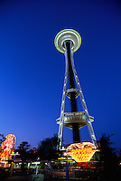 "Seattle, Washington, USA - ""Space Needle"" at Seattle Center, Revolving Restaurant on Top"
