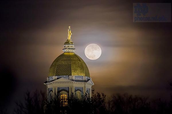 December 3, 2017; Moonrise behind the Golden Dome (Photo by Matt Cashore/University of Notre Dame)