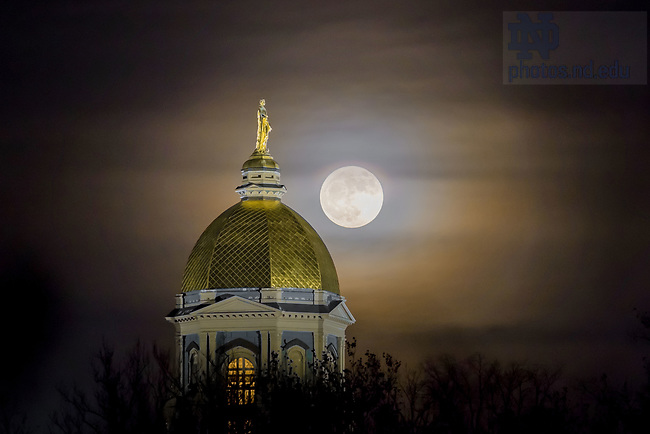 December 3, 2017; Moonrise behind the Golden Dome (Photo by Matt Cashore/University of Notre Dame)