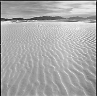 White Sands - rippled dunes at sunset.<br /> <br /> Hassleblad 500C/M, 50mm lens, Ilford XP2 film, red filter