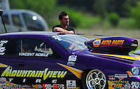 Apr. 29, 2012; Baytown, TX, USA: NHRA pro stock driver Vincent Nobile during the Spring Nationals at Royal Purple Raceway. Mandatory Credit: Mark J. Rebilas-