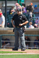 Home plate umpire Edgar Huerta-Morales during the Pioneer League game between the Missoula Osprey and the Billings Mustangs at Dehler Park on August 20, 2017 in Billings, Montana.  The Osprey defeated the Mustangs 6-4.  (Brian Westerholt/Four Seam Images)