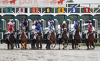September 3, 2012. Easter Gift, ridden by Kendrick Carmouche and trained by Nick Zito, wins the grade III Smarty Jones Stakes at Parx Racing. The horses break from the gate: from left, My Adonis, Junebugred, Brimstone Island, Traffic Light, Easter Gift, Teeth of the Dog, Runnin Bull. (Joan Fairman Kanes/Eclipse Sportswire)