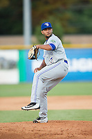 Bluefield Blue Jays relief pitcher Angel Alicea (5) in action against the Burlington Royals at Burlington Athletic Stadium on June 26, 2016 in Burlington, North Carolina.  The Blue Jays defeated the Royals 4-3.  (Brian Westerholt/Four Seam Images)