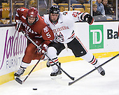 Dan Ford (Harvard - 5), Alex Tuckerman (Northeastern - 27) - The Harvard University Crimson defeated the Northeastern University Huskies 3-2 in the 2012 Beanpot consolation game on Monday, February 13, 2012, at TD Garden in Boston, Massachusetts.