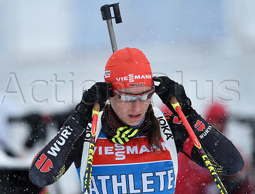 04.03.2016. Holmenkollen, Oslo, Norway.  Female Biathlete Vanessa Hinz of Germany in action during a training session at the Biathlon World Championships, in the Holmenkollen Ski Arena, Oslo, Norway, 04 March 2016.