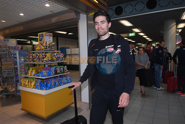 Tom Dumoulin (NED) Team Giant-Alpecin pictured in Schipol Airport on his way from Amsterdam to the airport at Lamezia Terme in the far south of Italy, and then Catanzaro, the start town for Stage 4 tomorrow, The Netherlands. 9th May 2016.<br /> Picture: ANSA/Claudio Peri | Newsfile<br /> <br /> <br /> All photos usage must carry mandatory copyright credit (&copy; Newsfile | ANSA/Claudio Peri)
