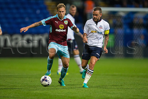 26.07.2016. Macron Stadium, Bolton, England. Pre Season Football Friendly. Bolton Wanderers versus Burnley. Burnley FC defender Daniel Lafferty breaks into midfield